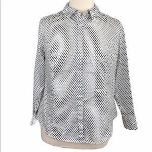 Lane Bryant Black/White Hidden Button Front Shirt